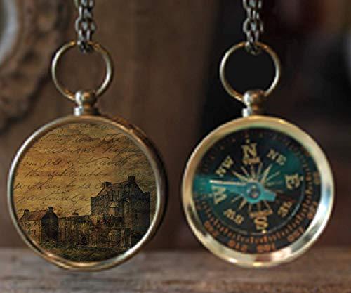 French Villa Photo Compass, Travel Compass, Wanderlust Compass, Compass Jewelry, Photo Jewelry, Gift Idea, Travel Gift, Christmas Gift