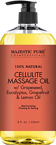 (Majestic Pure Natural Cellulite Massage Oil, Unique Blend of Massage Essential Oils - Improves Skin Firmness, More Effective Than Cellulite Cream, 8 fl oz)