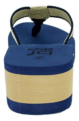 Belts.com Evelyn 5 Sandali Con Zeppa Infradito Donna Con Zeppa Leggera In Blu E Arancione (blu, 7.5)