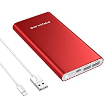 Poweradd Pilot 4GS Apple Lightning 12000mAh Portable Charger, Dual 3A External Battery Pack with Lightning 8-Pin Cable 3.3ft/1M for iPhone, iPad, Samsung Galaxy and More - Limited Red