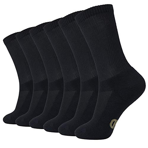 +MD 6 Pack Soft Mens and Womens Bamboo Crew Socks Odor Resistant Cushioned Dress Casual SocksBlack10-13