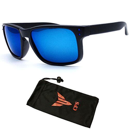 (#MD3033BluPOL) POLARIZED Lens Revo Lens Black Out Dark Frame Quality Sports Shades Designer Fashion Sunglasses with Colorful Mirrored - Revo Sunglasses Rectangle & Square