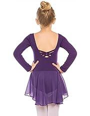 Beyove Balletpak voor meisjes, rugvrij, katoen, lange mouwen, balletpak, dansjurk, dansbody met rok, tutu