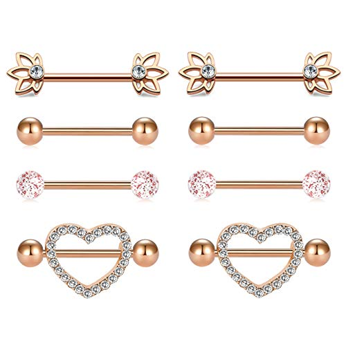 MODRSA Nipple Piercings Women 14G Stainless Steel Nipple Rings Tongue Ring Piercing CZ Heart Shape Rings 5/8
