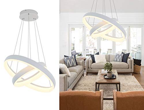 Pendant Light,ROYAL PEARL Modern Chandelier Flush Mount Led Pendant Lamp for Living Room Bedroom Office 2 Rings (Pendant Lamps Led)