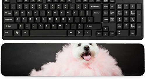 Liili Keyboard Wrist Rest Pad Long Extended Arm Supported Mousepad White Westhighland westie terrier with pink boa isolated on black background Photo (Best Liili Nature Boas)