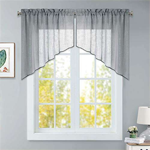 RYB HOME Decor Swag and Valance Set, Short Sheer Curtains with Linen Texture Wave Hazy Simitrasparent Drapes for Kitchen Window/Living Room/Dinning, Grey, 36