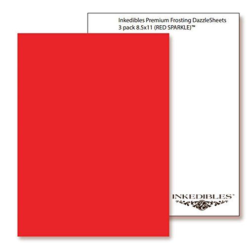 YummyInks Brand: Frosting DazzleSheets 3 sheets - 8in x 11in - Red Sparkle