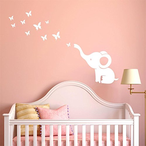 TIFENNY DIY Cute Elephant Butterflies Vinyl Mural Decals Wall Decals Children's Room Home Cartoon Decorative Art (White)