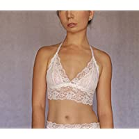 4b16768534b Ivory Lace Bralette. Bridal Lingerie. Wedding Underwear. Floral Embroidered  Lace Wireless Bra Top