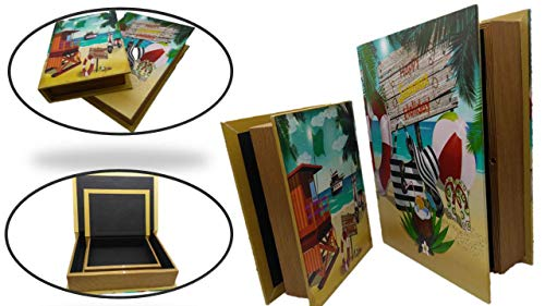 Keepsake Secret (TopNotch Outlet Stash Box - Fake Book (2 Pc) Decorative Tropical Nesting Storage Boxes - Diversion Hidden Compartment Faux Books - Keeps Jewelry Money Coins Secret and Safe - Keepsake Boxes)