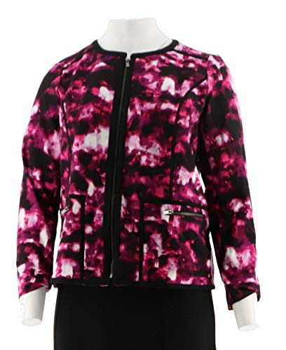 Clinton Kelly Print Ponte Jacket Contrast Piping Pink Watercolor XXS New A289823