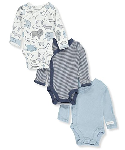 Carters Baby Boys 3-Pack Side-Snap Bodysuits Animal Stripe, Blue, - Snap Animal Design