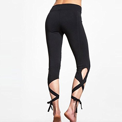 FAPIZI ♥ Women Pants ♥ Women Sports Gym Yoga Workout Cropped Leggings Fitness Lounge Athletic Pants (M, black)