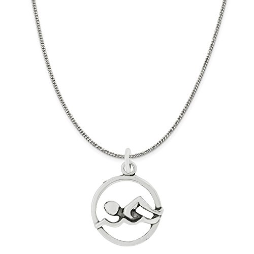 Out Swimmer Disc Charm Pendant on Sterling Silver Curb Chain Necklace, 18