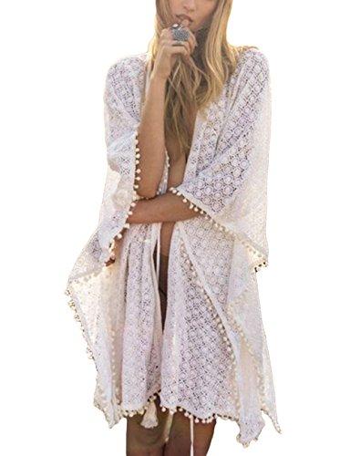 Bsubseach Lace Pom Pom Trim Swimsuit Bikini Cover Up Swimwear Women Sexy White Short Sleeve Beach Kimono Cardigan