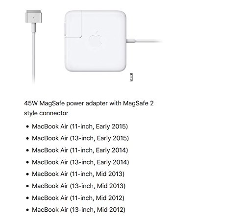 Apple 45W MagSafe 2 Power Adapter for MacBook Air MD592LL/A (Newest Version)