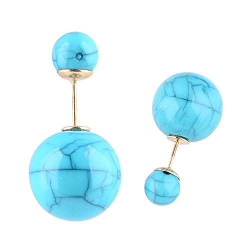 One Pair Hot Sell Colorful Double-faced Pearl Stud Earring