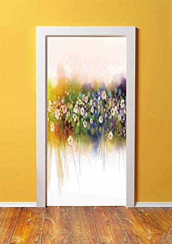 Watercolor Flower Home Decor 3D Door Sticker Wall Decals Mural Wallpaper,Vogue Display Wisteria Violets Wreath Fragrant Plants Herbs Artsy,DIY Art Home Decor Poster Decoration 30.3x78.939,Multi