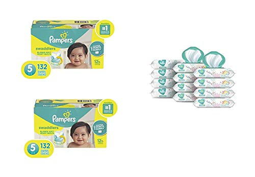 Pampers Bundle - Swaddlers Disposable Baby Diapers Size 5, 132 Count (Pack of 2)  with Pampers Sensitive Water-Based Baby Wipes, 12 Pop-Top and Refill Combo Packs, 864 Count