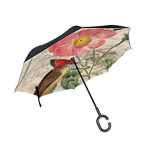THENAHOME Reverse Inverted Auto Open Umbrella Compact Lightweight Straight Umbrellas with Vintage Bird Flower for Car & Outdoor