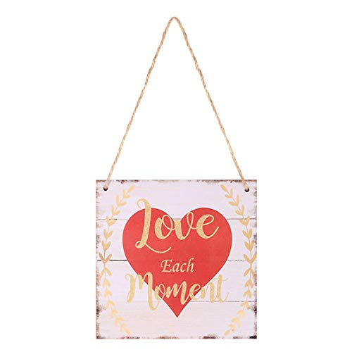 BESTOYARD Love Each Moment Valentines Day Hanging Prop Wood Hanging Decor Plaque for Valentines Day Wedding Engagement Anniversary