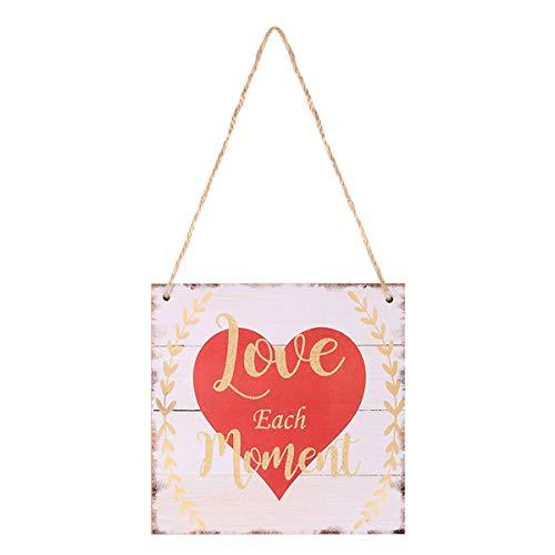 BESTOYARD Love Each Moment Valentine's Day Hanging Prop Wood Hanging Decor Plaque for Valentine's Day Wedding Engagement Anniversary]()