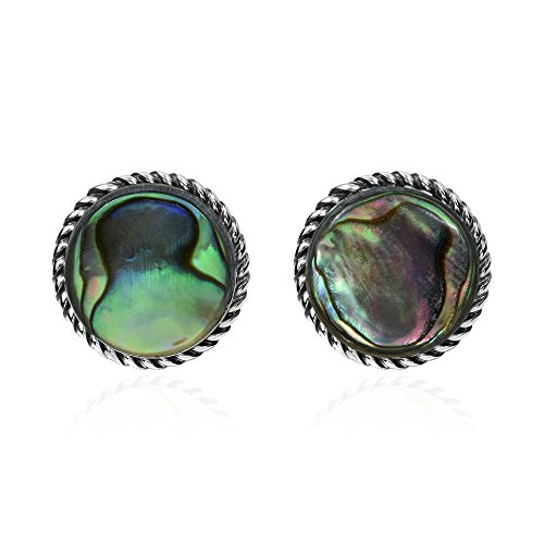 - Exotic 12 mm Round Abalone Shell .925 Sterling Silver Stud Earrings