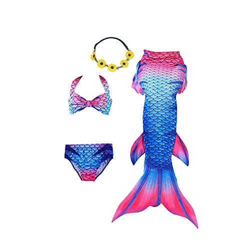 Ubetoone 3Pcs Mermaid Tails for Girls Swimming CostumeParty SuppliesSwimsuit SwimwearBikini for 3-12Y (Blue Red Mermaid, Child XL -