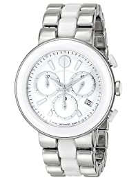 Movado Women's 0606758 Cerena Stainless Steel White Ceramic Case and Bracelet White Chrono Dial Watch