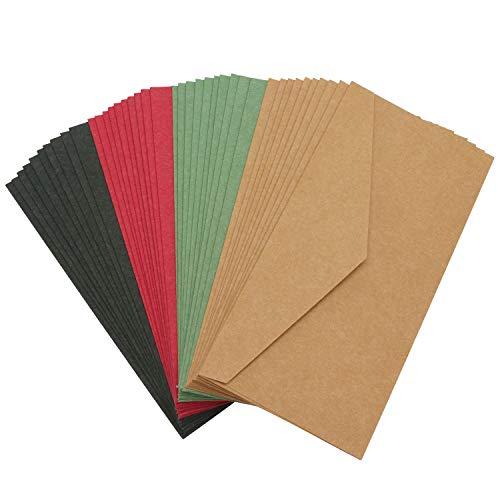- Greeting Card Envelopes, Eusoar 40pcs Assorted Color 4.3 x 8.7 inch Business Envelopes Catalog Envelopes for Invitations, Wedding, Parties(Black, Red, Green, Light Brown)