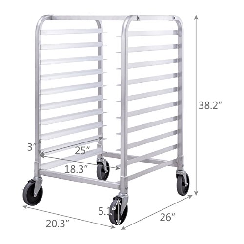 Giantex 10 Tier Aluminum Bakery Rack Home Commercial Kitchen Bun Pan Sheet Rack Mobile Sheet Pan Racking Trolley Storage Cooling Rack w/Lockable Casters by Giantex (Image #3)