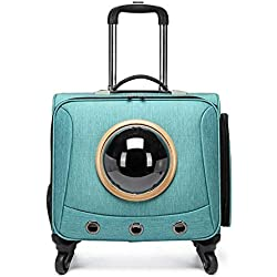 NAMBM Pet Rolling Luggage Spinner Trolley Small Cat Dog Outdoor Travel Suitcase on Wheel 18inch Pets Carry On Luggage, Green