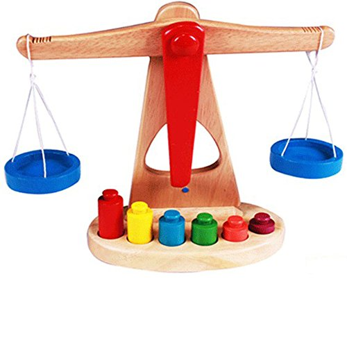 Preschool Educational Toy Wooden Balance Scale Toy with 6 Weights for Kids (Halloween Physical Education Games Preschool)