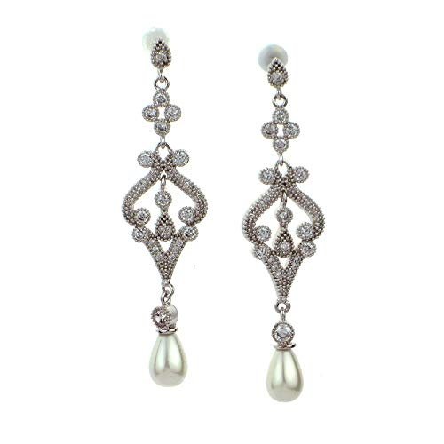 - Timelessbride Victorian Cubic Zirconia Pavé & Mother Pearl Linear Drop CZ Earrings,18k White Gold Plated,Wedding, Bridal, Prom