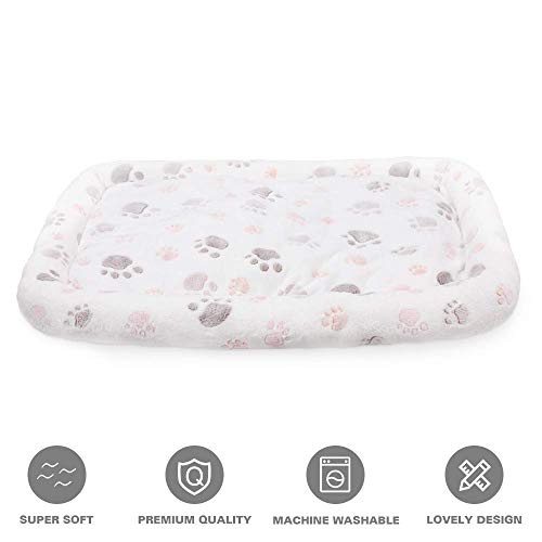 Allisandro Dog Bed Mat | Anti-Slip Soft Pet Crate Kennel Pad - Washable Dog Mattress Pet Bed for Dogs & Cats, White M:20.8x13.7x4.7