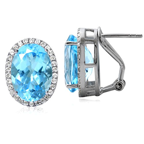 (16.58ct. Genuine Blue Topaz White Gold Plated 925 Sterling Silver Omega Clip Earrings)