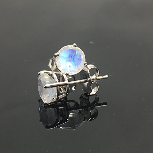 14K White Gold Genuine Rainbow Moonstone Stud Earrings - 14K Solid Gold Moonstone Studs - 6mm Moonstone Crystal Earrings - Diamond Alternative (Diamond Moonstone Earrings)