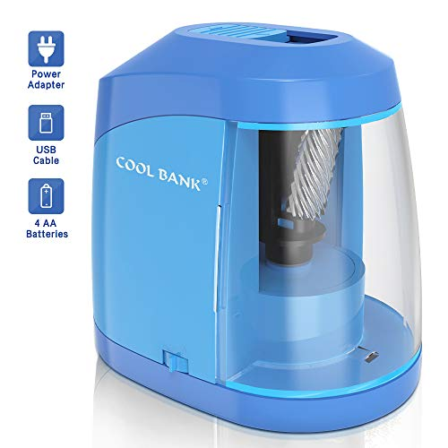 Electric Pencil Sharpener, Heavy duty Helical Blade to Fast Sharpen, Auto Stop for No.2/Colored Pencils(6-8mm), USB/Battery Operated in School Classroom/Office/Home(USB Cable Included)