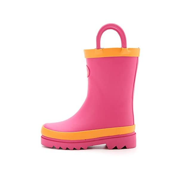 Outee Toddler Little Kids Girls Rubber Rain Boots Waterproof Shoes Pink With Easy-On Handles
