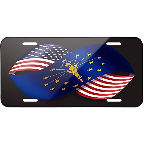 (Friendship Flags USA and Indiana region America (USA) Metal License Plate 6X12 Inch )