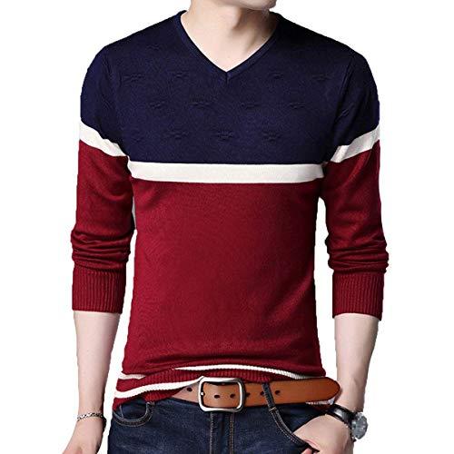 Rojo Cuello Suéter De Moda Camiseta Algodón Warm Retro Stripes Jersey V Punto N Boy Chunky xR7SqZx