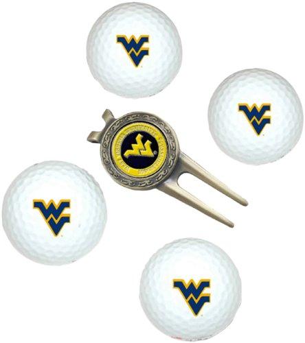 NCAA West Virginia Mountaineers 4 Golf Ball And Divot Tool (Wvu Basketball)