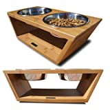 "Bambu Angled Pet Diner Double Bowl Feeder Size: Medium (4.5"" H x 16.5"" W x 8"" D)"