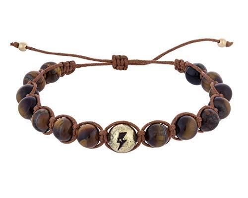 - Annie Lebling Girls Jewelry Adjustable Stone Bead Bracelet - Tiger's Eye Stone Bracelet in Lightning