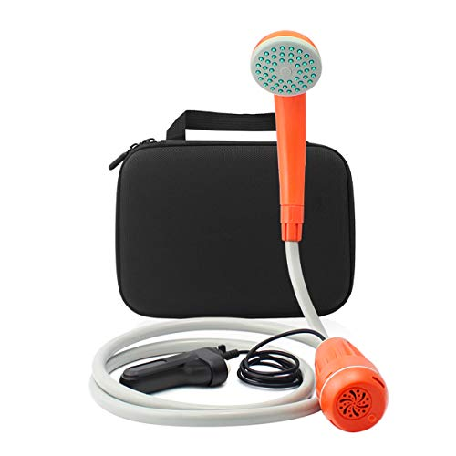 Camp Battery Shower (BEARHAM Portable Camping Shower, Battery Powered Outdoor Shower Camping, Pet Cleaning, Car Washing from Bucket/Sink Into Gentle Stream Carry Bag)