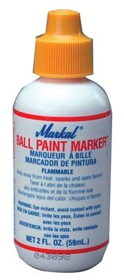 Ball Paint Marker, Yellow, 1/8 in, Metal