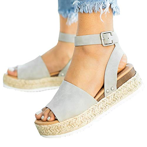 Ymost Womens Wedges Sandal Open Toe Ankle Strap Trendy Espadrille Platform Sandals Flats (9, New Grey) ()
