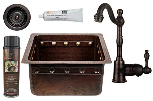 Premier Copper Products - BSP4_BREC16DBBS-D Bar/Prep Sink, Faucet and Accessories - Sink Copper Rectangle Prep