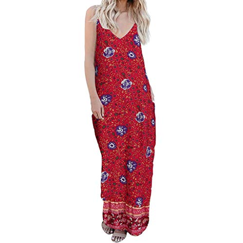 BODOAO Women's Printed V-Neck Camisole Colorful Maxi Dress Sleeveless Cocktail Flowers Dress Red - Flower Corduroy Dress